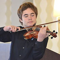 "Santa Monica High School  student Harry Rayner, 17, performs Zigeunerweisen on the violin during the Kiwanis Club of Santa Monica 63rd Annual Music Awards Luncheon at the Sheraton Delfina on Wednesday, June 13, 2012..Twenty-four Santa Monica Unified District music students ranging from sixth grade through graduating seniors shared over $9,150 in prizes for vocal and instrumental music achievement, part of the annual awards program.  First Place winners performed for parents, faculty and Kiwanians. ""We always have a difficult time selecting awardees from the wonderful candidates,"" said Kiwanis Club of Santa Monica Music Chair, Maggie Hall. ?""Our future is in very competent hands, so we want to help them along."""