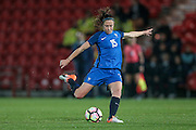 Elise Bussaglia (France) takes a shot during the International Friendly match between England Women and France Women at the Keepmoat Stadium, Doncaster, England on 21 October 2016. Photo by Mark P Doherty.
