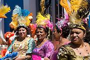 Colourful dressed women. Carnival. Mindelo. Cabo Verde. Africa.