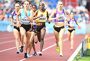 Shelby Houlihan (USA), Simona Vrzalova (CZE), Winny Chebet (KEN) and Linden Hall (AUS) lead the women's 1,500m during the IAAF Continental Cup 2018 at Mestkey Stadion in Ostrava, Czech Republic, Saturday, Sept. 8, 2018. (Jiro Mochizuki/Image of Sport)