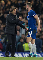 Football - 2017 / 2018 Premier League - Chelsea vs Manchester United<br /> <br /> Antonio Conte, Manager of Chelsea FC, congratulates Gary Cahill (Chelsea FC)  at the end of the game at Stamford Bridge <br /> <br /> COLORSPORT/DANIEL BEARHAM