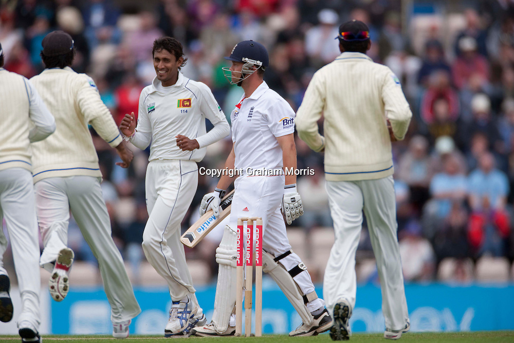 Jonathan Trott walks off after being caught during the third npower Test Match between England and Sri Lanka at the Rose Bowl, Southampton.  Photo: Graham Morris (Tel: +44(0)20 8969 4192 Email: sales@cricketpix.com) 18/06/11