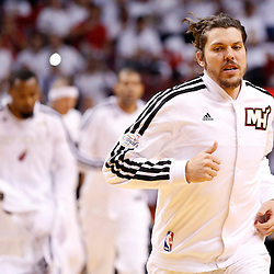 Jun 18, 2013; Miami, FL, USA; Miami Heat shooting guard Mike Miller runs onto the court prior to game six in the 2013 NBA Finals against the San Antonio Spurs at American Airlines Arena.  Mandatory Credit: Derick E. Hingle-USA TODAY Sports