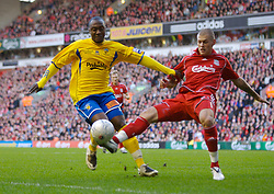 LIVERPOOL, ENGLAND - Saturday, January 26, 2008: Liverpool's Martin Skrtel and Havant and Waterlooville Richard Pacquette during the FA Cup 4th Round match at Anfield. (Photo by David Rawcliffe/Propaganda)