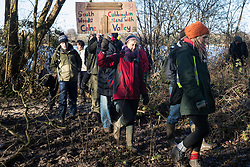 Harefield, UK. 18 January, 2020. Activists from Stop HS2 South Cubbington Woods occupy the Colne Valley wildlife protection camp from which enforcement agents acting for HS2 had evicted all but two Stop HS2 and Save the Colne Valley activists last week. Activists from Extinction Rebellion, Stop HS2 and Save the Colne Valley were attending the second day of a three-day 'Stand for the Trees' event in the Colne Valley timed to coincide with tree felling work by HS2. 108 ancient woodlands are set to be destroyed by the high-speed rail link.