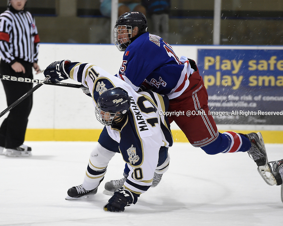 OAKVILLE, ON - Sep 26, 2014 : Ontario Junior Hockey League game action between Toronto Lakeshore and North York at the Govenors Showcase Tournament, Brett Markham #10 of the Toronto Patriots Hockey Club takes the hit from Max Novick #15 of the North York Rangers Hockey Club during the third period.<br /> (Photo by Andy Corneau / OJHL Images)