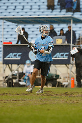 CHAPEL HILL, NC - FEBRUARY 23: Forry Smith #4 of the Johns Hopkins Blue Jays during a game against the North Carolina Tar Heels on February 23, 2019 at Kenan Stadium in Chapel Hill, North Carolina. Hopkins won 11-10. (Photo by Peyton Williams/US Lacrosse)