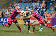 Rob Burrow of Leeds Rhinos tries to make a break during the Super 8s Qualifiers match at The Big Fellas Stadium, Post Office Road, Pontefract.<br /> Picture by Richard Land/Focus Images Ltd +44 7713 507003<br /> 06/08/2016