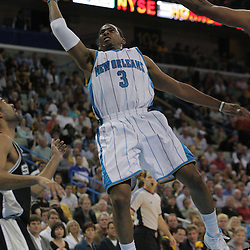 17 December 2008: New Orleans Hornets guard Chris Paul (3) shoots a lay up during a NBA regular season game between the Western Conference rivals the San Antonio Spurs and the New Orleans Hornets at the New Orleans Arena in New Orleans, LA..