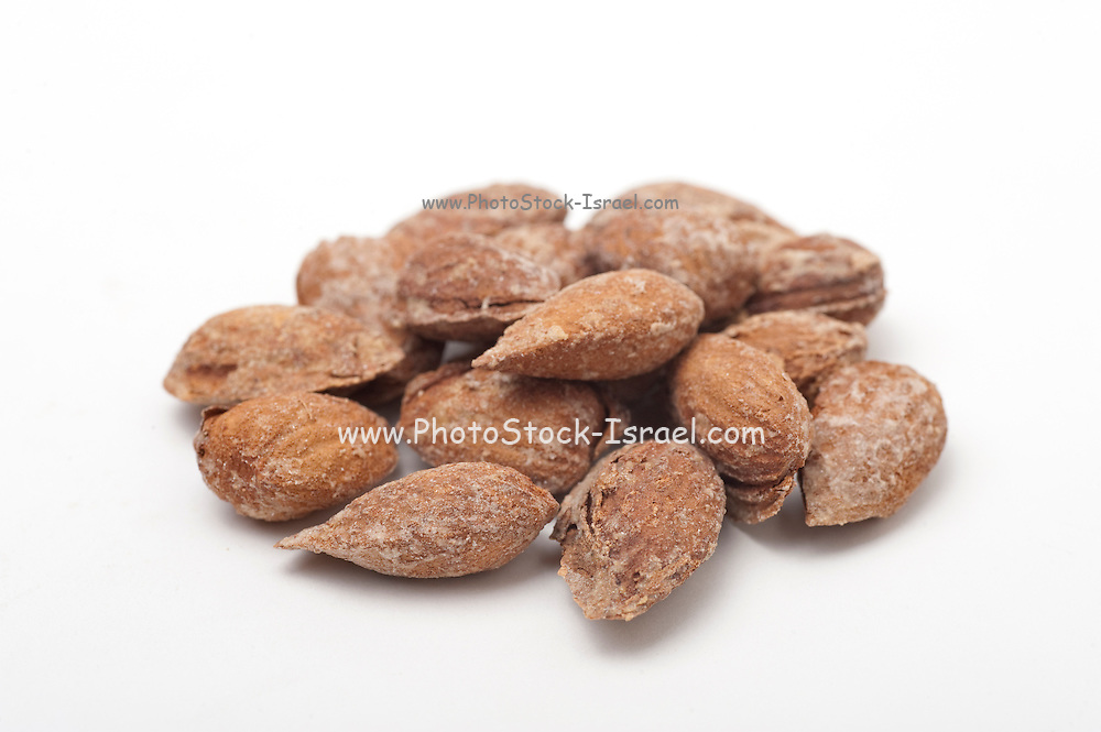 Almonds in shell On white Background