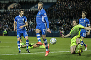 Jordan Rhodes (on loan from Middlesbrough) (Sheffield Wednesday) flicks the ball from the corner and forces Ali Al-Habsi (Reading) into a save during the EFL Sky Bet Championship match between Sheffield Wednesday and Reading at Hillsborough, Sheffield, England on 17 March 2017. Photo by Mark P Doherty.
