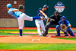 25 May 2019:  Zach Frey pitches, Max Wright catches, Evan Sandmann bats and Bill McGuire makes the calls. Missouri Valley Conference Baseball Tournament - Dallas Baptist Patriots v Indiana State Sycamores at Duffy Bass Field in Normal IL<br /> <br /> #MVCSPORTS