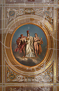 Minerva between Apollo and Mercury, 1814, Anne-Louis Girodet de Roussy-Trioson (1767-1824), central medallion of the ceiling of the Emperor Library, Castle of Compiegne, Oise, France. The castle was built in the 18th century in neoclassical style as the Royal residence for the French King Louis XV. It was destroyed during the French Revolution and later restored at the begining of 19th century by Napoleon in First French Emperor style with Louis-Martin Berthault as main architect. Picture by Manuel Cohen