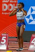 Dina Asher-Smith (Great Britain), Women's 100m Heats, during the 2019 IAAF World Athletics Championships at Khalifa International Stadium, Doha, Qatar on 29 September 2019.