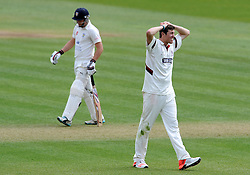 Dejection for Somerset's Jamie Overton. - Photo mandatory by-line: Harry Trump/JMP - Mobile: 07966 386802 - 13/04/15 - SPORT - CRICKET - LVCC County Championship - Day 2 - Somerset v Durham - The County Ground, Taunton, England.