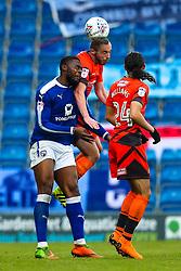 Michael Harriman of Wycombe Wanderers challenges Jerome Binnom-Williams of Chesterfield - Mandatory by-line: Robbie Stephenson/JMP - 28/04/2018 - FOOTBALL - Proact Stadium - Chesterfield, England - Chesterfield v Wycombe Wanderers - Sky Bet League Two