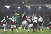 Last minute scramble in the Burnley penalty area during the Premier League match between Burnley and Fulham at Turf Moor, Burnley, England on 12 January 2019.
