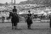 2 SIDE SADDLE RIDERS IN FANCY DRESS, KATE HEWSON, AGE 11 ON RIGHT, Heathfield Agricultural show. little tottingworth farm, broad oak, 28 May 2016