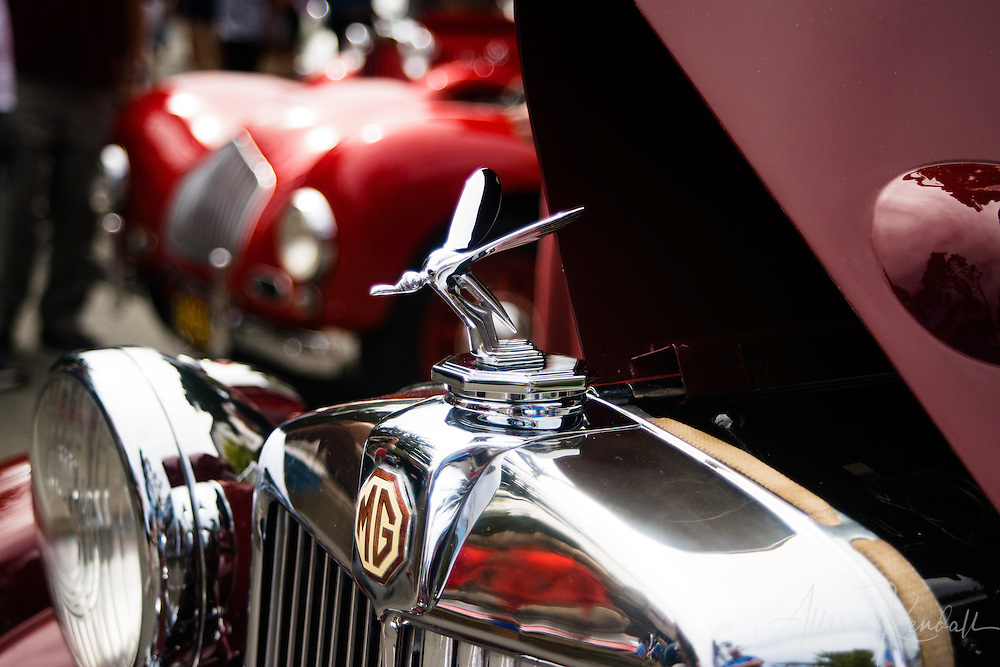 Detail of a 1948 MG hood ornament, seen at the Carmel-by-the-Sea Concours on the Avenue event during Monterey Car Week