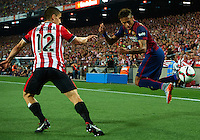 BARCELONA, SPAIN - MAY 30: Neymar JR (R) of Barcelona in action behind to Unai Bustinza of Athletic Club de Bilbao during the King's Cup Final game between Athletic Club de Bilbao and FC Barcelona at Camp Nou stadium on May 30, 2015 in Barcelona, Spain. (Photo by Manuel Queimadelos)