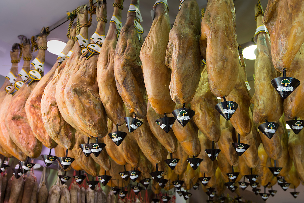 Viandas de Salamanca, Iberico jamon, on sale in artisan food shop in Calle de Bidebarrieta in Bilbao, Basque country, Spain
