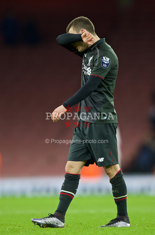 LONDON, ENGLAND - Friday, March 4, 2016: Liverpool's Brooks Lennon looks dejected as his side lose to Arsenal during the FA Youth Cup 6th Round match at the Emirates Stadium. (Pic by Paul Marriott/Propaganda)