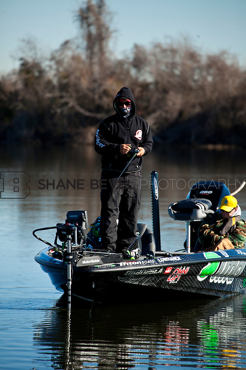 2/25/12 10:13:05 AM -- during the 2012 Bassmaster Classic on the Red River in Shreveport, La. ..Photo by Shane BevelFred Roumbanis of Bixby, Okla. fishes on the Red River