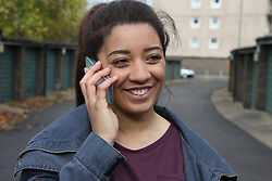 Teenage girl talking on mobile phone