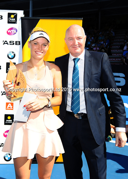 Danish player Caroline Wozniacki after her Singles Finals match against Venus Williams of the USA at the ASB Classic Women's International. ASB Tennis Centre, Auckland, New Zealand. Saturday 10 January 2015. Copyright photo: Chris Symes/www.photosport.co.nz