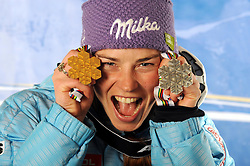 17-02-2011 SKIEN: FIS ALPINE WORLD CHAMPIONSSHIP: GARMISCH PARTENKIRCHEN<br /> Gold Medal and World Champion Tina Maze (SLO) during Giant Slalom<br /> **NETHERLANDS ONLY**<br /> ©2011-WWW.FOTOHOOGENDOORN.NL/EXPA/ M. Gunn