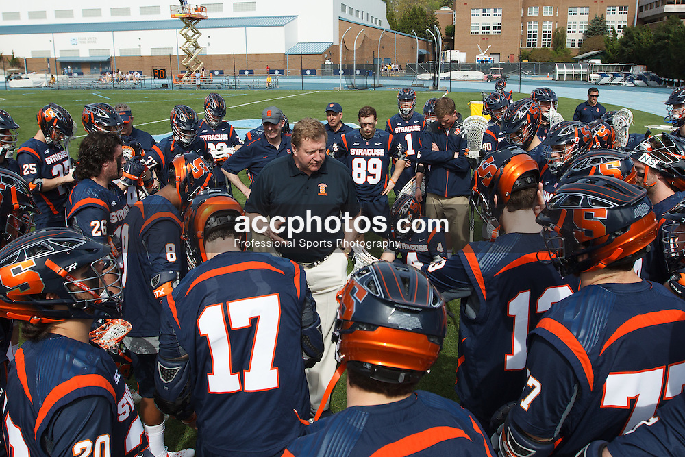 CHAPEL HILL, NC - APRIL 11: Head coach John Desko of the Syracuse Orange speaks to his team before playing against the North Carolina Tar Heels on April 11, 2015 at Fetzer Field in Chapel Hill, North Carolina. North Carolina won 17-15. (Photo by Peyton Williams/US Lacrosse/Getty Images) *** Local Caption *** John Desko