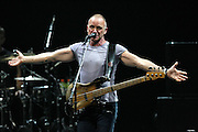 LAS VEGAS, NV - NOVEMBER 25:  Musician Sting performs onstage during his Back to Bass Tour at The Colosseum at Caesars Palace on November 25, 2011 in Las Vegas, Nevada.  (Photo by Jeff R. Bottari/Getty Images)