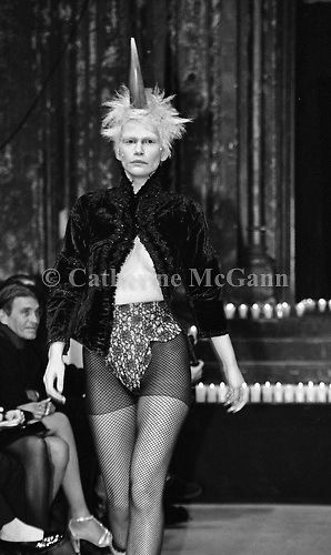 March 1996:  Alexander McQueen's first fashion show in New York.  The collection was shown in a former synagogue on Norfolk Street (now the Angel Orensanz Foundation Center for the Arts) on the Lower East side in New York City, New York.