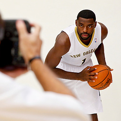 Sep 30, 2013; Metairie, LA, USA; New Orleans Pelicans point guard Tyreke Evans (1) poses for a portrait at Pelicans Practice Facility. Mandatory Credit: Derick E. Hingle-USA TODAY Sports