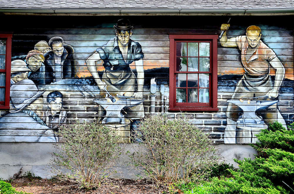 Blacksmiths Mural by Wayne Fettro in Lancaster County, Pennsylvania<br />