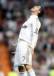 18.10.2011, Santiago Bernabeu Stadion, Madrid, ESP, UEFA CL, Gruppe D, Real Madrid (ESP) vs Olympique Lyon (FRA), im Bild Real Madrid's Cristiano Ronaldo dejected during UEFA Champions League match. October 18, 2011 // during UEFA Champions League group D match between Real Madrid (ESP) and Olympique Lyon (FRA) at City of Santiago Bernabeu Stadium, Madrid, Spain on 18/10/2011. EXPA Pictures © 2011, PhotoCredit: EXPA/ Alterphoto/ Alvaro Hernandez +++++ ATTENTION - OUT OF SPAIN/(ESP) +++++