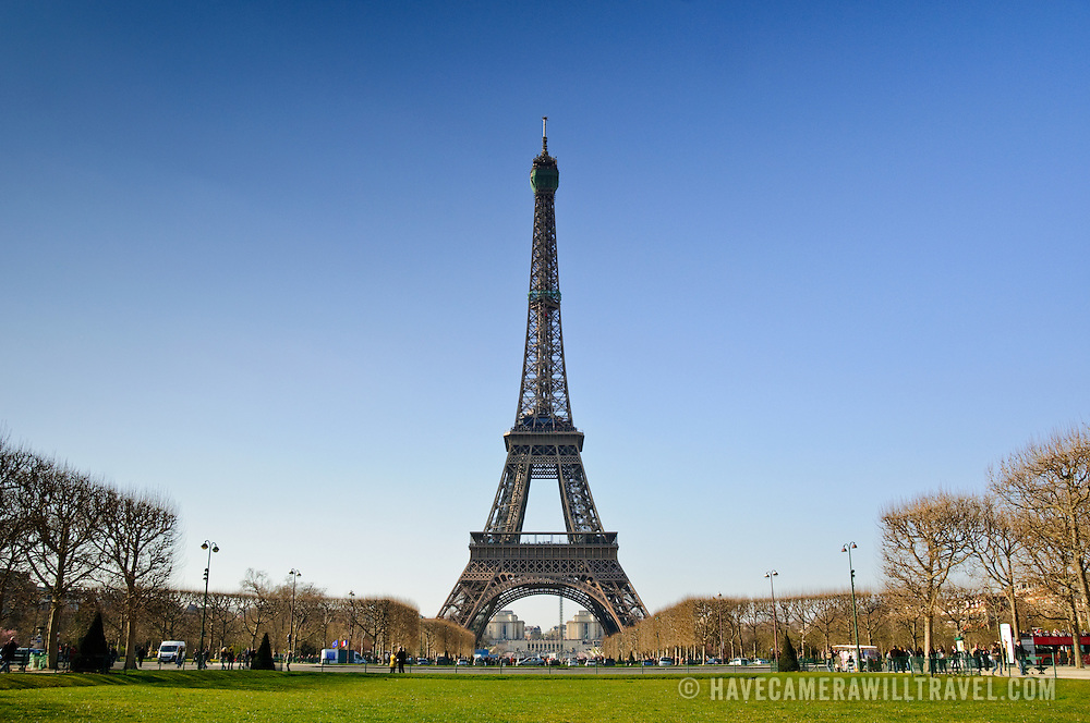 Eiffel Tower seen from Champ de Mars facing northwest.