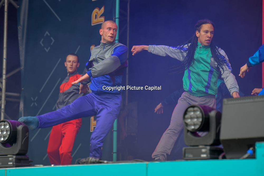 BalletBoyz performs at West End Live 2019 - Day 2 in Trafalgar Square, on 23 June 2019, London, UK.