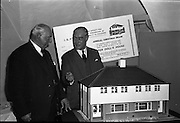 Presentation of Doll House to the I.S.P.C.C.<br /> 1961.<br /> 14.11.1961.<br /> 11.14.1961.<br /> 14th November 1961.<br /> A doll's house built by Wates was donated to the I.S.P.C.C. as the main prize in their annual raffle. The house is a scale model of houses being built by Wates & Co Ltd in Greenfield Park in Santry, Dublin.<br /> Image shows the model house kindly donated by Wates & Co Ltd.