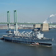 Aerial view of the USS Seattle  final voyage Down the Delaware River.
