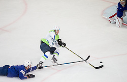 Jonathan Janil of France, Ales Music of Slovenia and Cristobal Huet of France during the 2017 IIHF Men's World Championship group B Ice hockey match between National Teams of France and Slovenia, on May 15, 2017 in AccorHotels Arena in Paris, France. Photo by Vid Ponikvar / Sportida
