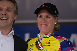 Ellen van Dijk (NED) of Team Sunweb retains the yellow jersey as the leader of the Overall Classification after Stage 3 of the Healthy Ageing Tour - a 154.4 km road race, between  Musselkanaal and Stadskanaal on April 7, 2017, in Groeningen, Netherlands.
