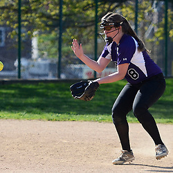 Staff photos by Tom Kelly IV<br /> Upper Darby shortstop D. Hotz (8) fields a ground ball during the Ridley at Upper Darby softball game on Wednesday.