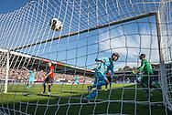 NIJMEGEN, NEC - Feyenoord 1-2, voetbal, Eredivisie seizoen 2016-2017, 16-10-2016, Stadion de Goffert, Feyenoord speler Michiel Kramer (M) heeft de 1-2 gescoord, NEC keeper Joris Delle (R), NEC speler Andre Fomitschow (2L), Feyenoord speler Dirk Kuyt (L).