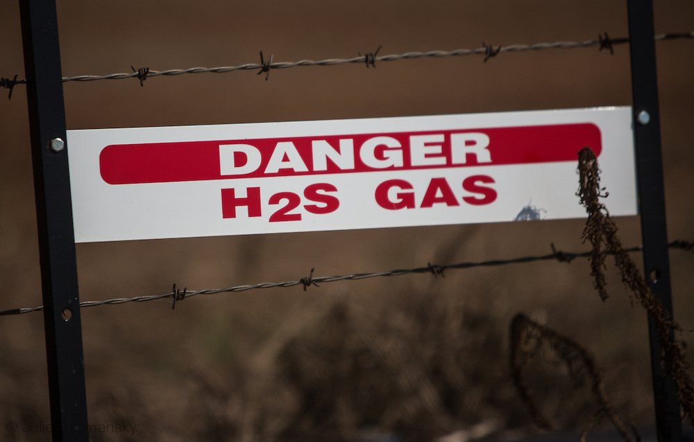 Warning sign at a fracking site in Kingfisher Oklahoma.