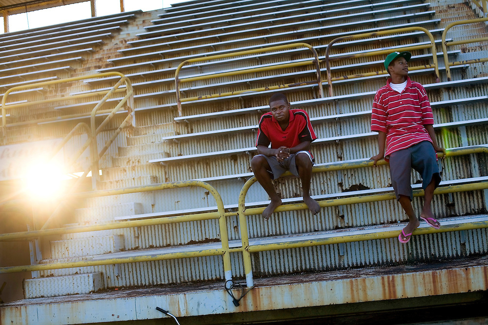 Children play soccer at the Marion Jones Stadium in Belize City, Belize