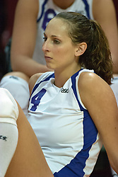 30 September 2006: Bulldog Beth Kranske receives a serve and passes the ball to the setter. The Drake Bulldogs opened the match with a decisive win in the 1st game, but struggled in the next 3.  The Illinois State Redbirds took the match 3 games to 1.The match took place at Redbird Arena on the campus of Illinois State University in Normal Illinois.