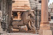 India, Khajuraho, horse sculpture in a temple