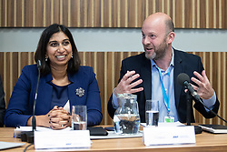 "© Licensed to London News Pictures . 01/10/2018. Birmingham, UK. Suella Braverman MP Parliamentary Under Secretary of State for the Department for Exiting the EU and Josh Hardie of the CBI . Prospect magazine fringe event titled "" Beyond tariffs where are our opportunities to boost trade post-Brexit "" , supported by Associated British Ports . Day 2 of the Conservative Party conference at the ICC in Birmingham . Photo credit: Joel Goodman/LNP"