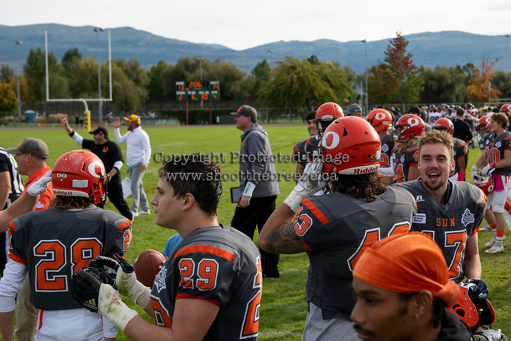 KELOWNA, BC - OCTOBER 6: The Okanagan Sun celebrate a touchdown against the VI Raiders at the Apple Bowl on October 6, 2019 in Kelowna, Canada. (Photo by Marissa Baecker/Shoot the Breeze)